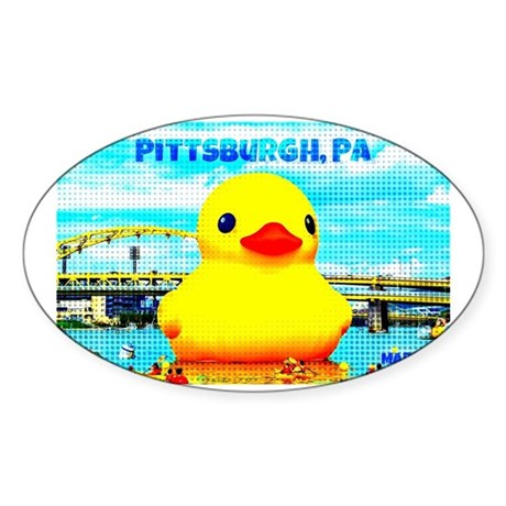 Pittsburgh, PA Duck Sticker (Oval)
