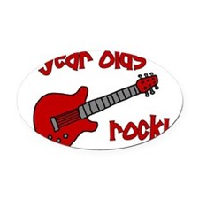 4yearoldsrock_redguitar Oval Car Magnet