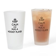 Keep Calm and Hug a Hockey Player Drinking Glass