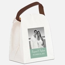 Wedding Photo Mint White Canvas Lunch Bag