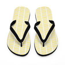 Yellow and Gray Herringbone Pattern Flip Flops