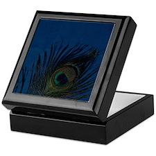 Dark Blue Peacock Feather Keepsake Box