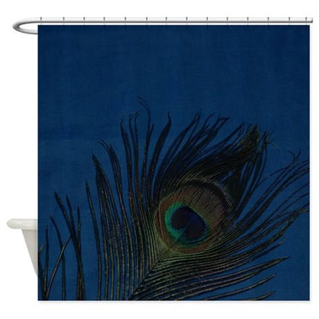 Dark Blue Peacock Feather Shower Curtain By ChristyOliver