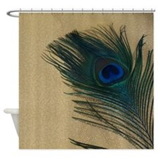 Metallic Gold Peacock Shower Curtain