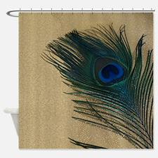 Metallic Gold Peacock Shower Curtain