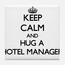 Keep Calm and Hug a Hotel Manager Tile Coaster