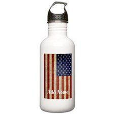 Add Name USA Flag Water Bottle