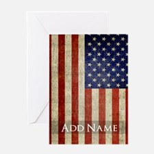Add Name USA Flag Greeting Cards