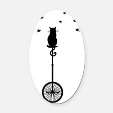 cat on vintage bicycle with birds Oval Car Magnet