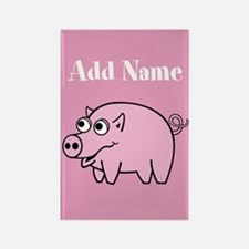 Cute Pig Pink Add Name Magnets