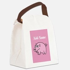 Cute Pig Pink Add Name Canvas Lunch Bag