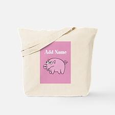 Cute Pig Pink Add Name Tote Bag