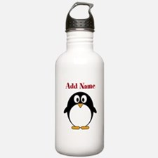Modern Penguin Add Name Water Bottle
