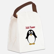 Modern Penguin Add Name Canvas Lunch Bag