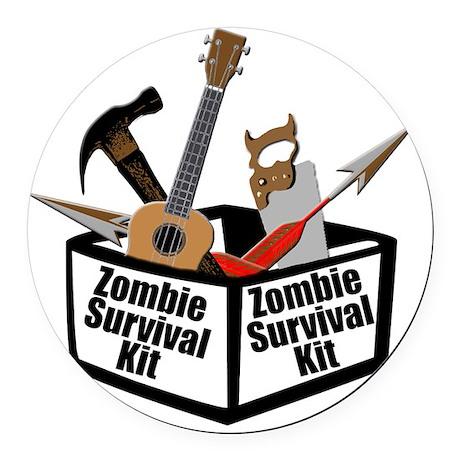 Zombie Ukulele Kit Round Car Magnet