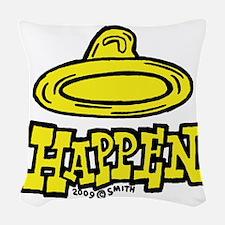 condom_happen_right_yellow Woven Throw Pillow