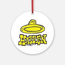 condom_happen_right_yellow Round Ornament