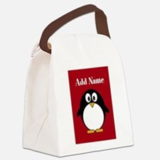 Modern Penguin Red Canvas Lunch Bag