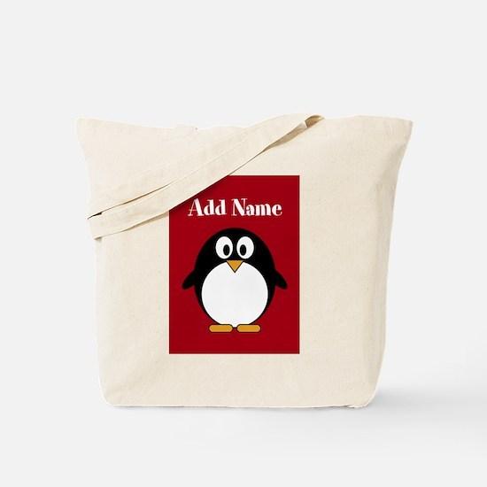 Modern Penguin Red Tote Bag