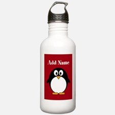 Modern Penguin Red Water Bottle