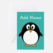 Modern Penguin Teal Greeting Cards
