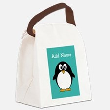 Modern Penguin Teal Canvas Lunch Bag