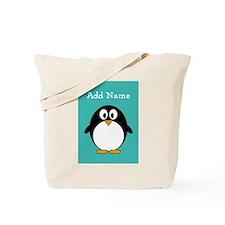 Modern Penguin Teal Tote Bag
