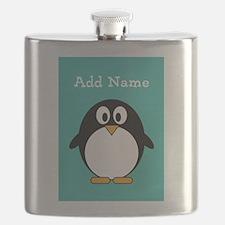 Modern Penguin Teal Flask