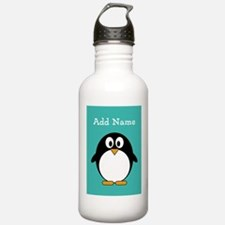Modern Penguin Teal Water Bottle