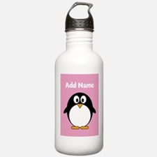 Modern Penguin pink Water Bottle