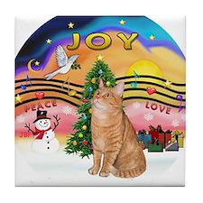 X Music 2 - Orange Tabby cat 46 Tile Coaster
