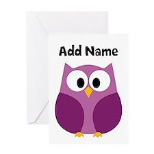 Modern Owl Purple Greeting Cards
