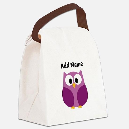 Modern Owl Purple Canvas Lunch Bag