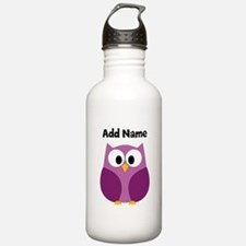 Modern Owl Purple Water Bottle