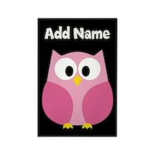 Modern Owl Pink Black Magnets