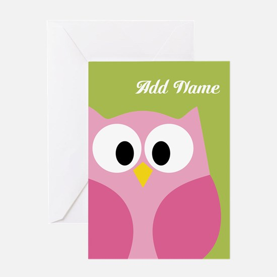 Green Pink Owl Greeting Cards