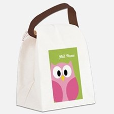 Green Pink Owl Canvas Lunch Bag