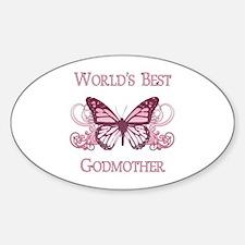 World's Best Godmother (Butterfly) Sticker (Oval)
