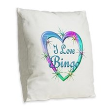 I Love Bingo Burlap Throw Pillow