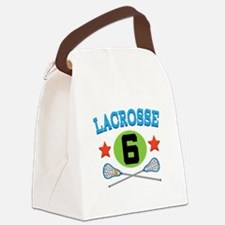 Lacrosse Player Number 6 Canvas Lunch Bag