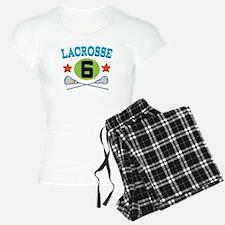 Lacrosse Player Number 6 Pajamas