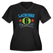 Lacrosse Player Number 6 Women's Plus Size V-Neck