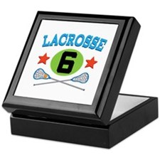 Lacrosse Player Number 6 Keepsake Box