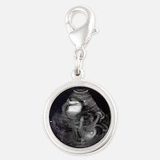 Cthulhu Ultrasound Silver Round Charm