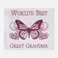 World's Best Great Grandma (Butterfly) Throw Blank