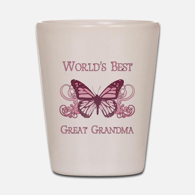 World's Best Great Grandma (Butterfly) Shot Glass