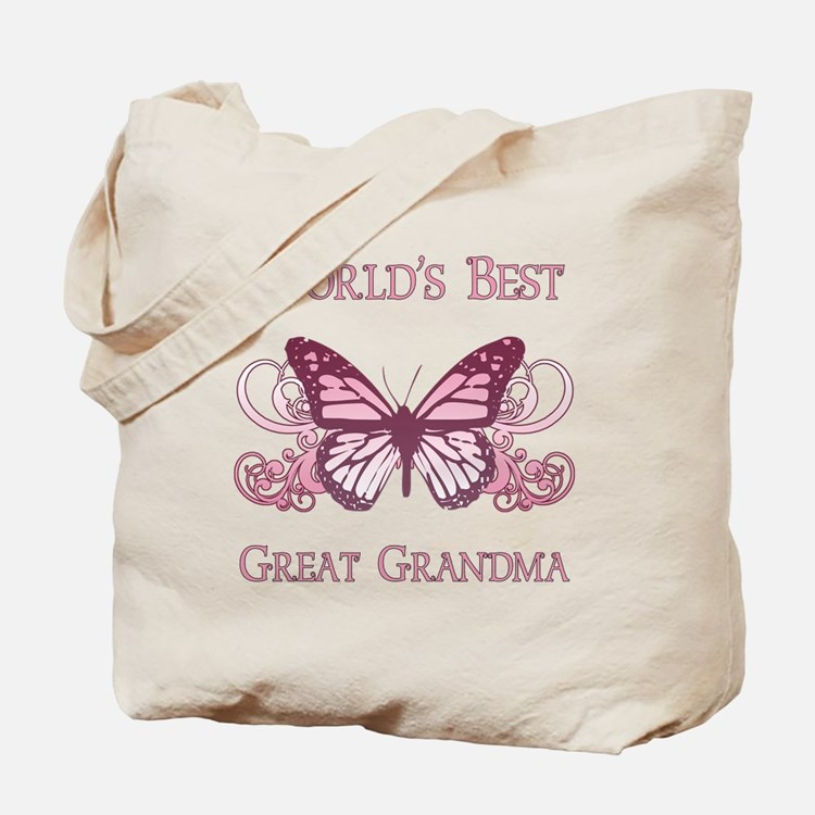 World's Best Great Grandma (Butterfly) Tote Bag