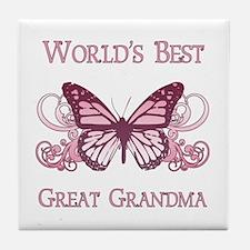 World's Best Great Grandma (Butterfly) Tile Coaste