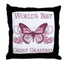 World's Best Great Grandma (Butterfly) Throw Pillo