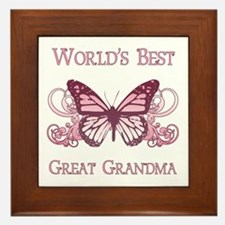 World's Best Great Grandma (Butterfly) Framed Tile